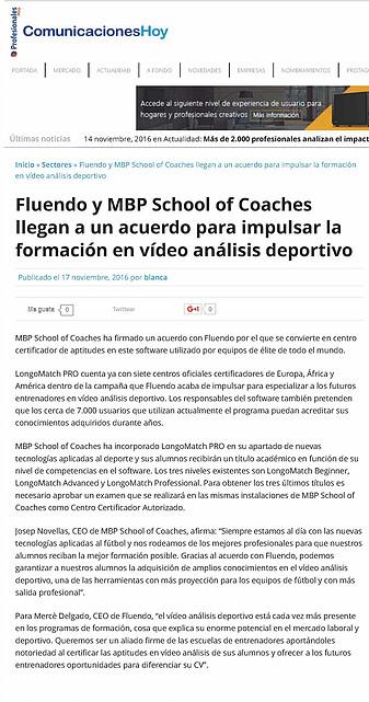 Acuerdo con Longomatch - MBP School of Coaches y Fluendo han llegado a un acuerdo de colaboración