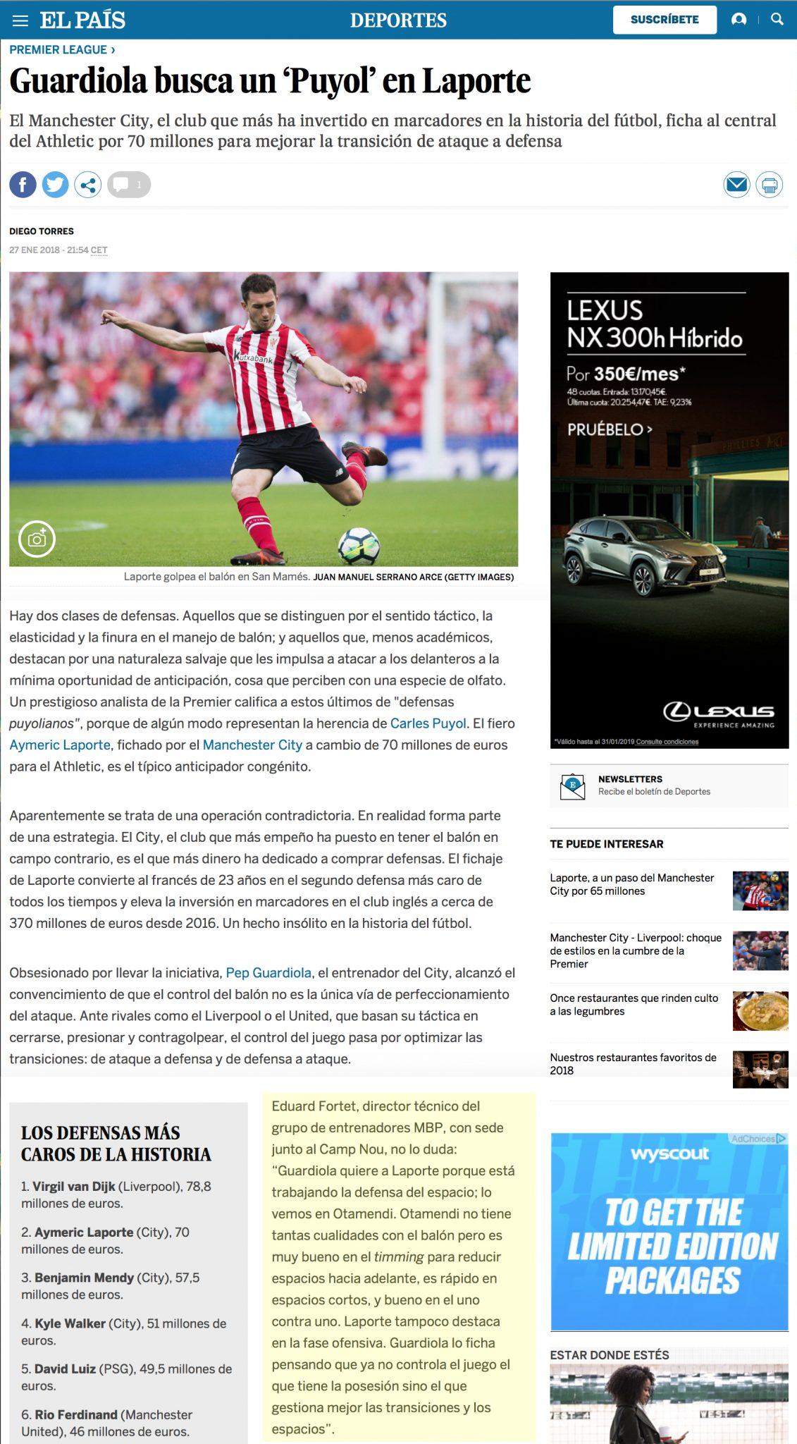 El País - Laporte el nuevo Puyol