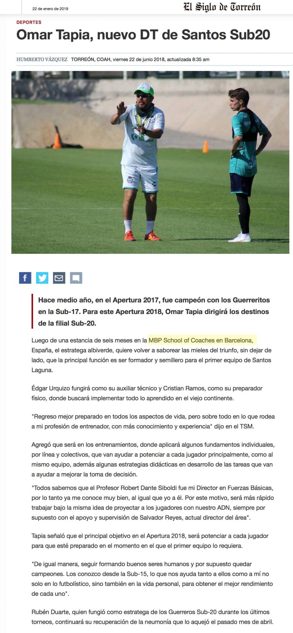 Omar Tapia, nuevo DT de Santos Sub20